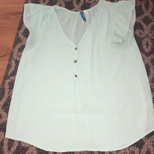 Sheer mint green blouse